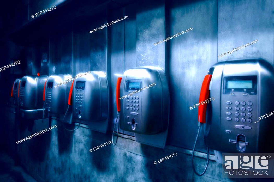 Stock Photo: Row of Pay phones Venice, Italy.