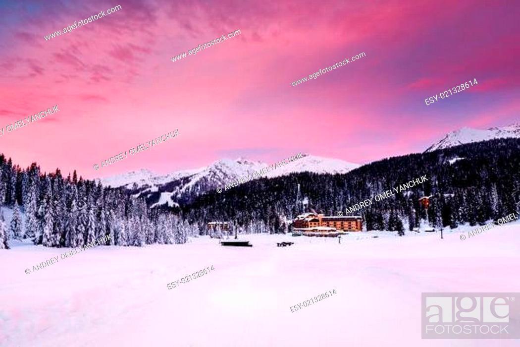 Stock Photo: Beautiful Sunrise at Ski Resort of Madonna di Campiglio, Italian Alps, Italy.