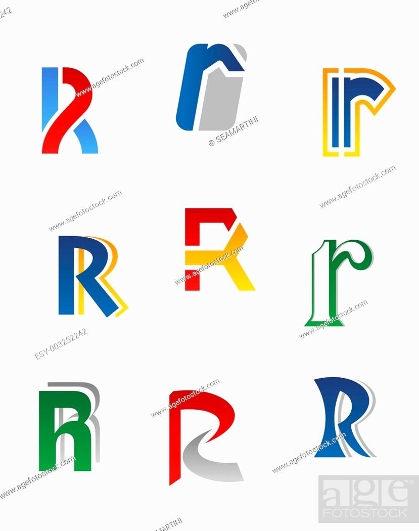 Stock Photo: Set of alphabet symbols and elements of letter R.