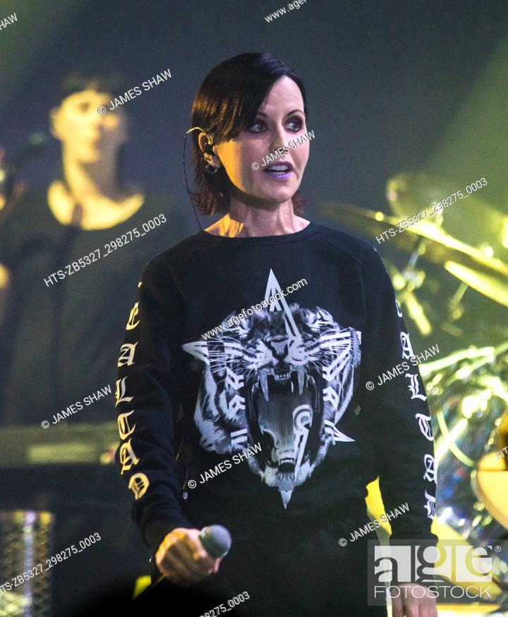 Stock Photo: Dolores O'Riordan of The Cranberries in concert at The London Palladium, London, UK.