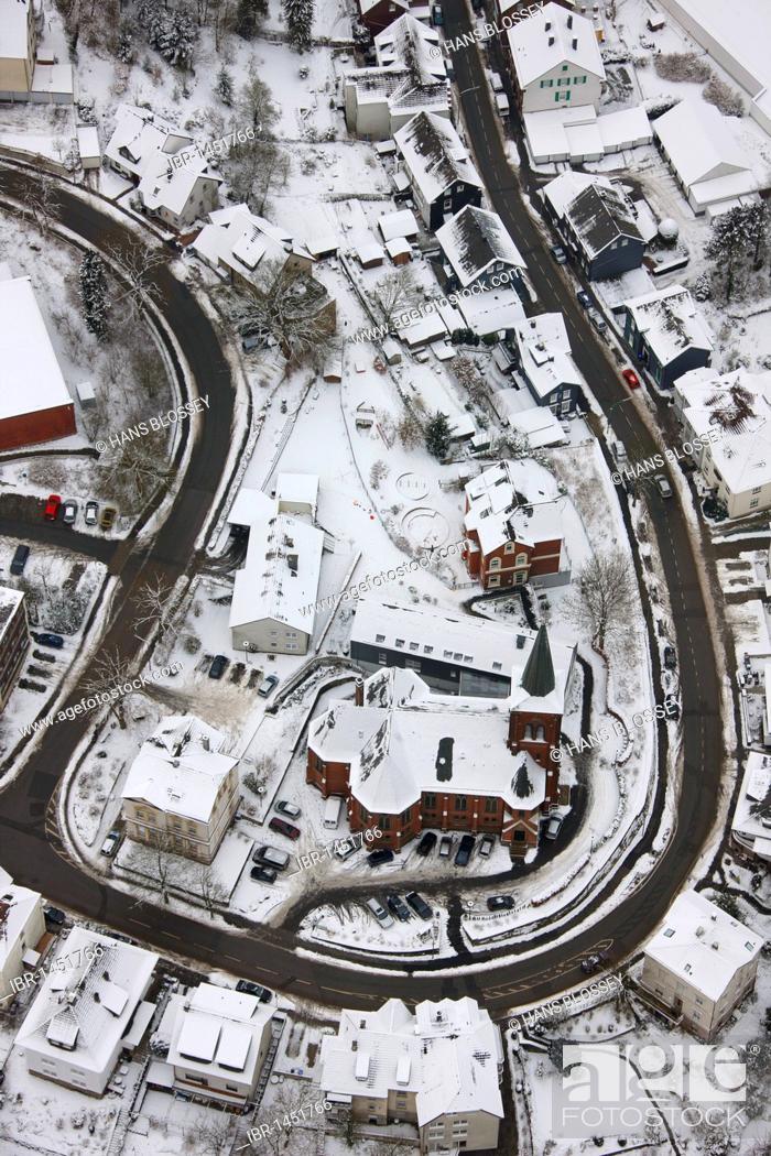 Imagen: Aerial view, snow, Milspe, Ennepetal, North Rhine-Westphalia, Germany, Europe.