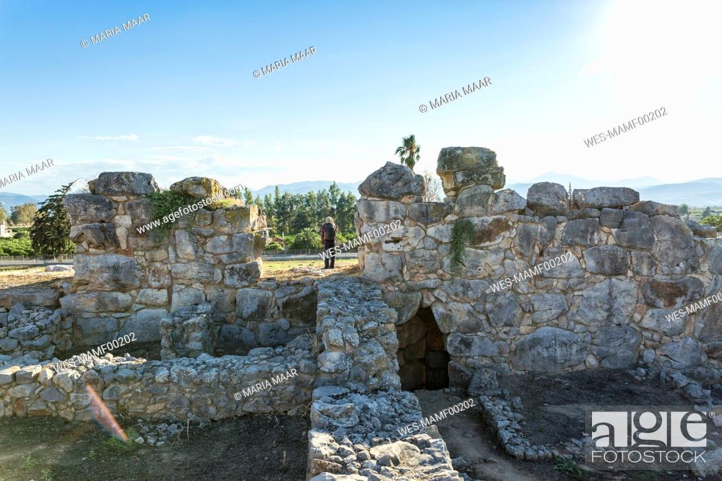 Stock Photo: Greece, Peloponnese, Argolis, Tiryns, archaeological site, Tourist.