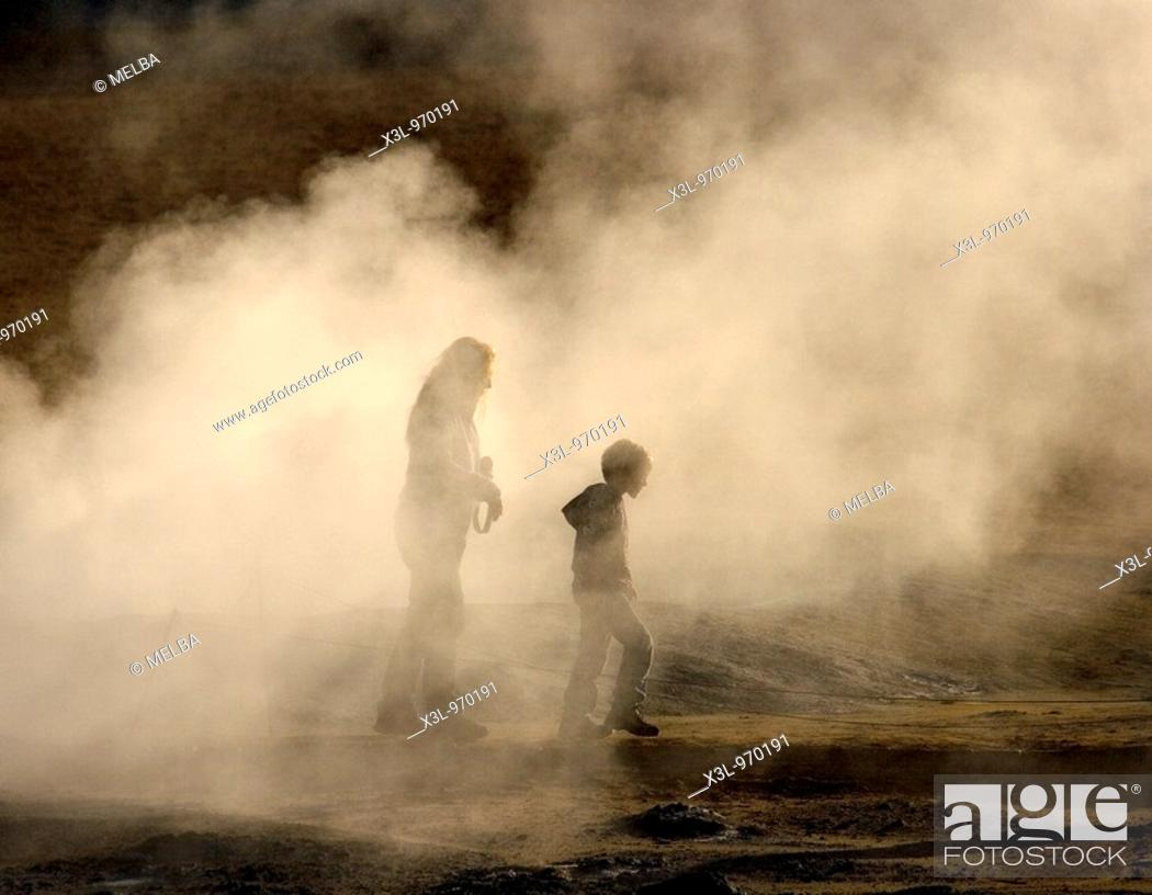 Stock Photo: Namaskard Solfatara, field of steaming solfataras sulphurous vents  Myvatn lake  Iceland.