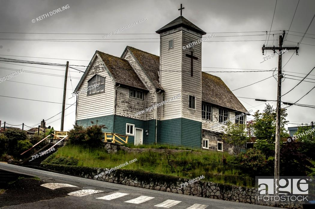 Stock Photo: Out of Use, Old Church in Ucluelet on Vancouver Island, Canada.