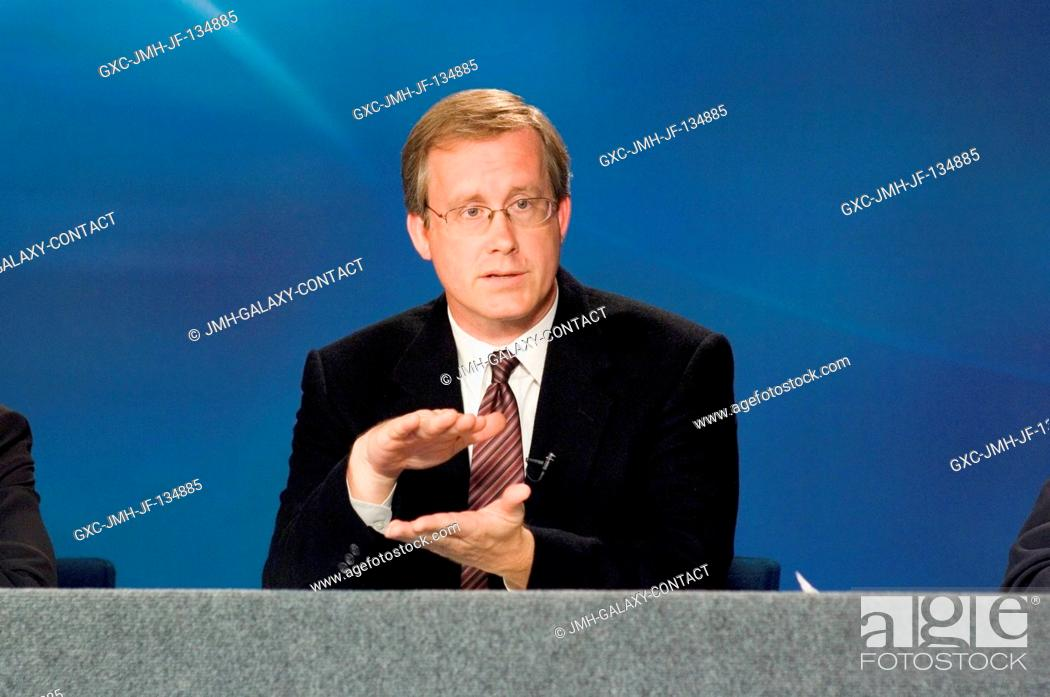 Stock Photo: John Shannon, chairman, Mission Management Team, gives his perspective on the STS-117 mission during a mission status briefing at the Johnson Space Center.