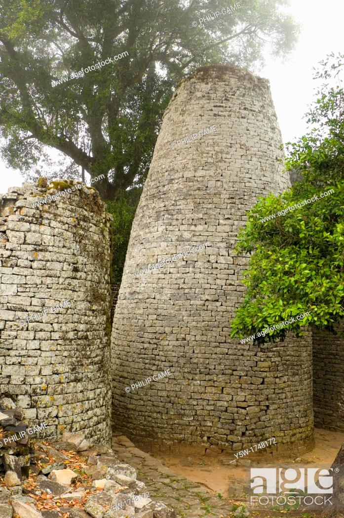 Stock Photo: The Conical Tower at the ruined city of Great Zimbabwe.
