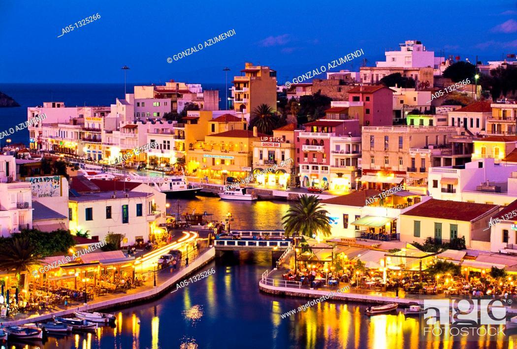 Stock Photo: The Voulismeni lake linked to the sea by a canal, Agios Nikolaos, Crete,Greece.