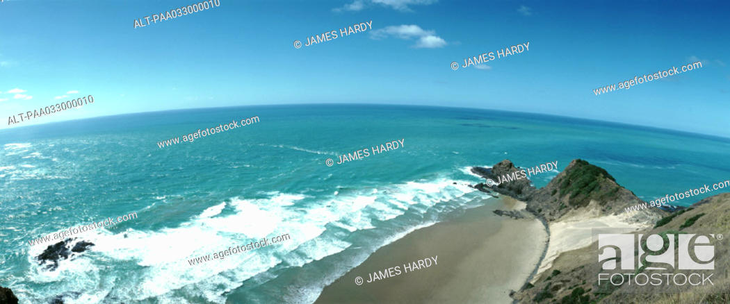 Stock Photo: New Zealand, seascape, elevated view.