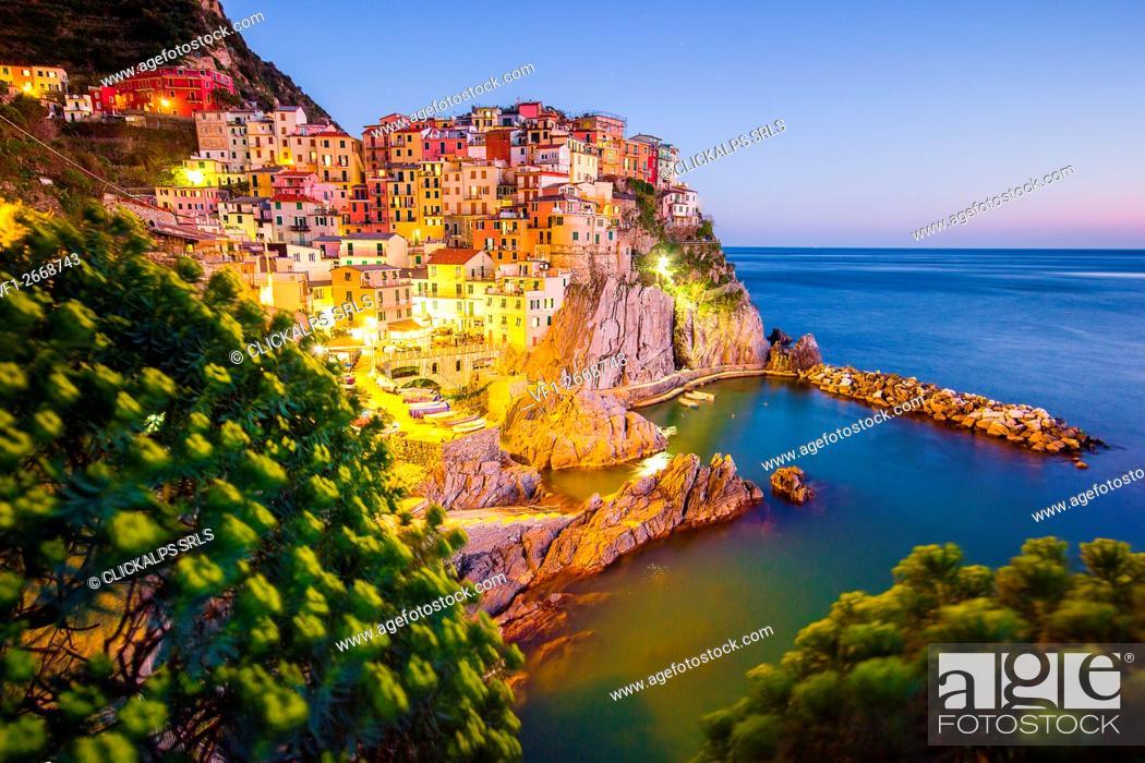 Stock Photo: Blue hour in Manarona, Cinque Terre National Park, Liguria, Italy.