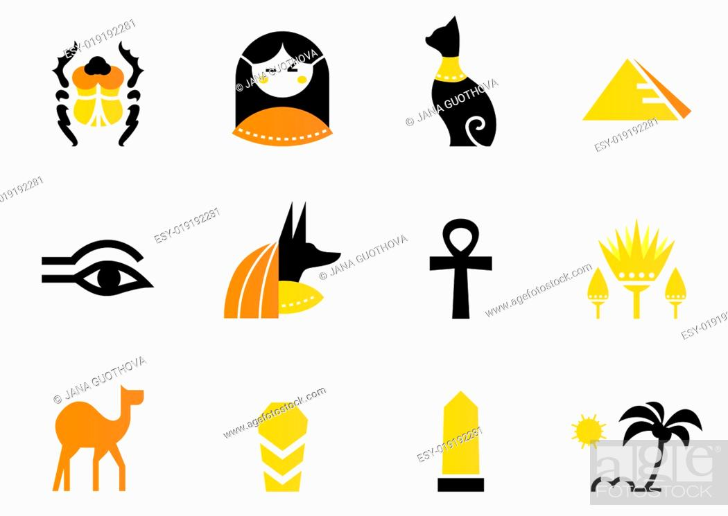 Stock Photo: Egypt icons and design elements isolated on white ( back and ora.