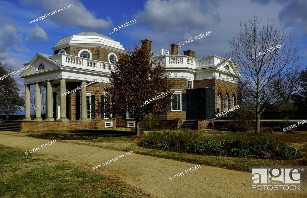 Stock Photo: Thomas Jeffersons Monticello Located in Charlottesville Virginia.