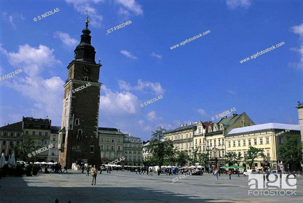 Stock Photo: Poland, Kracow, City hall tower.