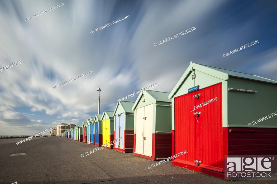 Stock Photo: Beach huts on the seafront of Brighton and Hove, England.
