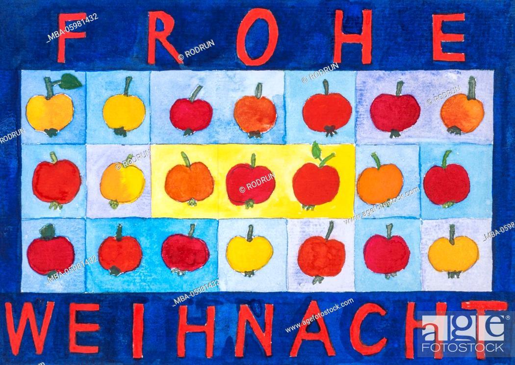 Photo de stock: Watercolour of Heidrun Füssenhäuser, Merry Christmas, yellow and red little apples.