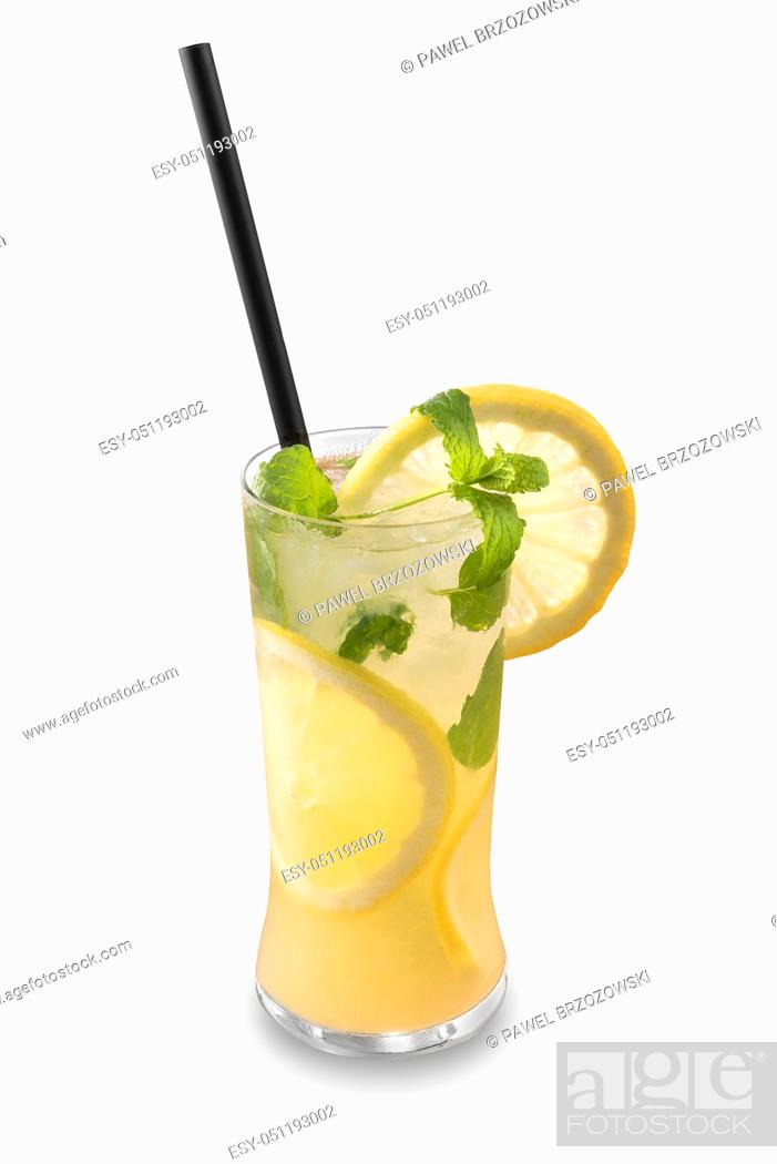 Stock Photo: Yellow drink isolated on white background. For fast food restaurant design or fast food menu.
