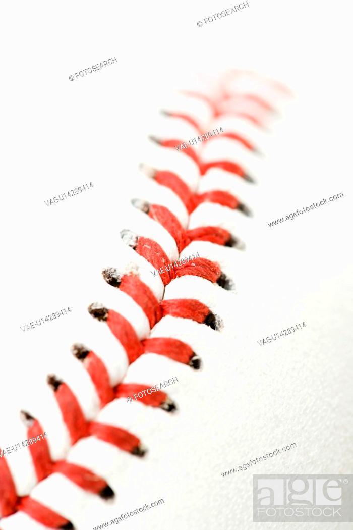 Stock Photo: Detail of stitching on baseball.