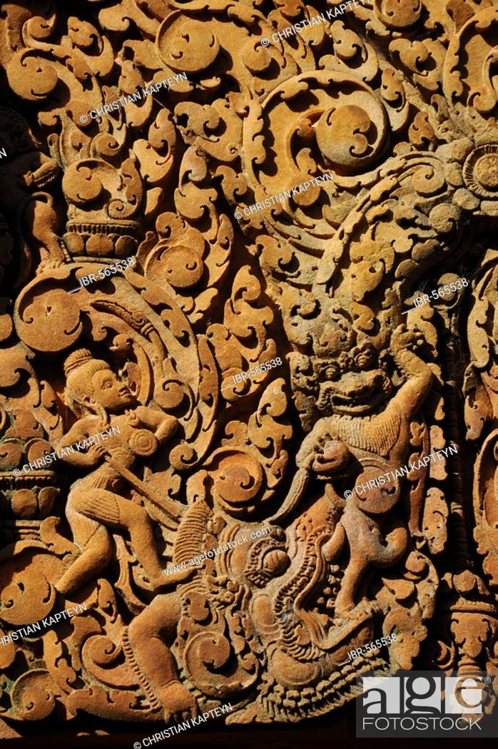 Stock Photo: Relief, Banteay Srei Temple, Angkor Wat, Siem Reap, Cambodia.