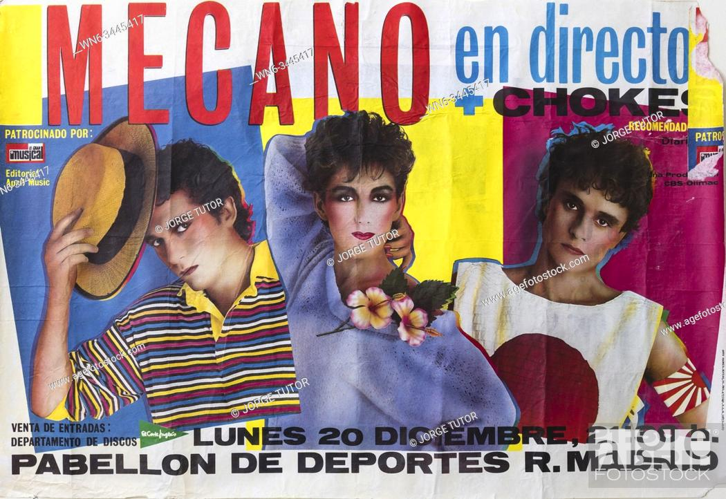 Stock Photo: Mecano plus Chokes in concert. Madrid December 1982. Musical concert poster. Spanish group.