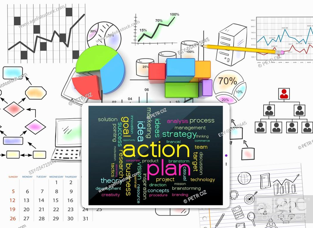 Stock Photo: Sketches visions and plans for successful business.