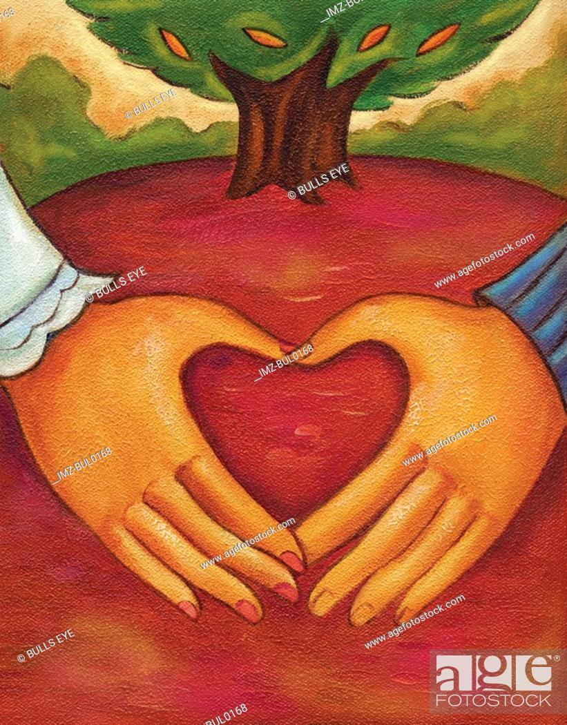 Stock Photo: An illustration of two hands forming a heart.