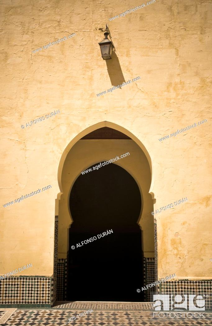 Stock Photo: inside door of the mausoleum of Moulay Ismail, Meknes, Morocco.