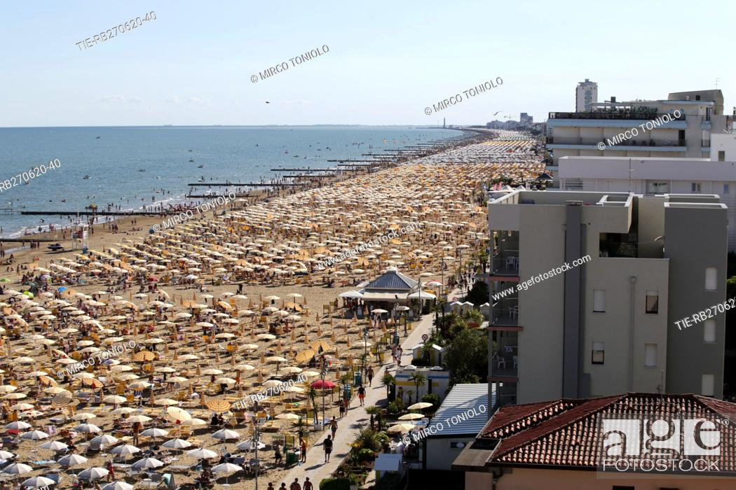 Stock Photo: A view of bathing facilities in Jesolo , ITALY-27-06-2020.