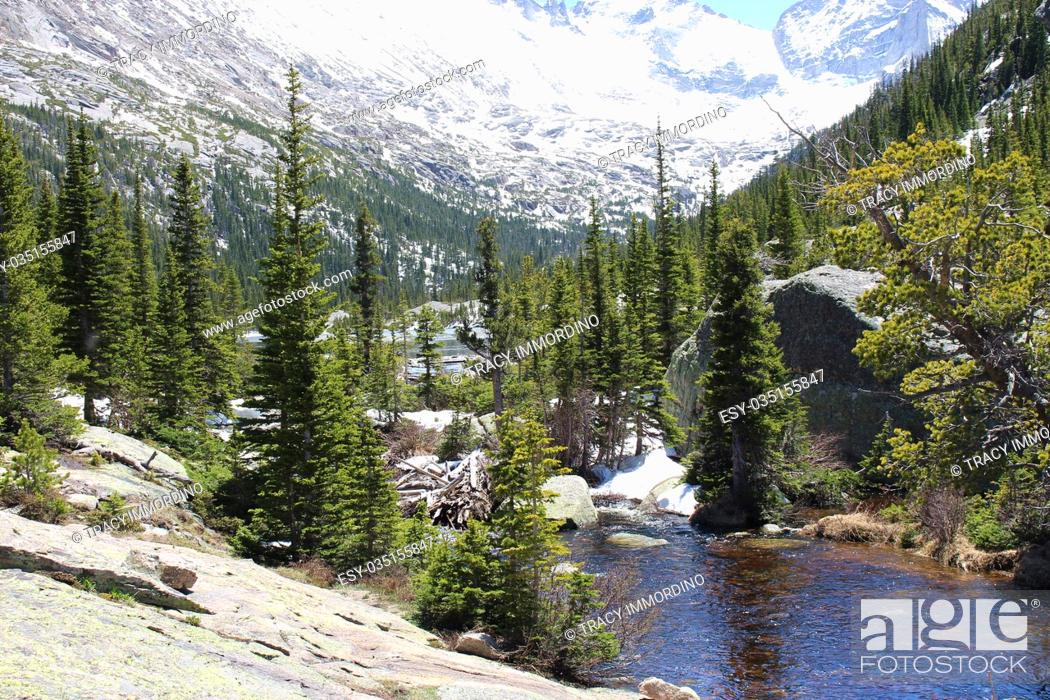 Stock Photo: Glacier Creek flowing into Mills Lake in Rocky Mountain National Park, Colorado, USA, surrounded by snow and pine covered mountain peaks.