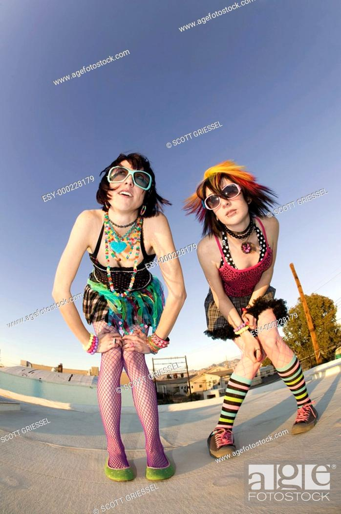 Stock Photo: Punk Girls on a Roof.