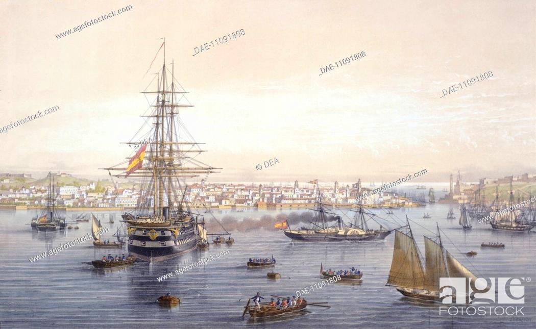 Stock Photo: The port of Havana, by Lebreton, Cuba 19th Century. Engraving.