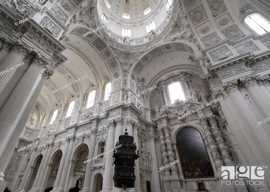 Stock Photo: Interior of of the Theatinerkirche Theatine church Saint Kajetan with dome and black pulpit in Munich, Bavaria, Germany, Europe.