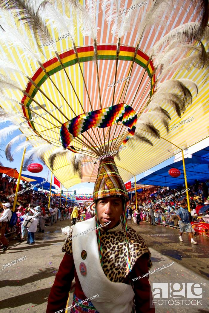 Stock Photo: Suri Sicuri Dancer Wearing An Elaborate Feather Headdress In The Procession Of The Carnaval De Oruro, Oruro, Bolivia.