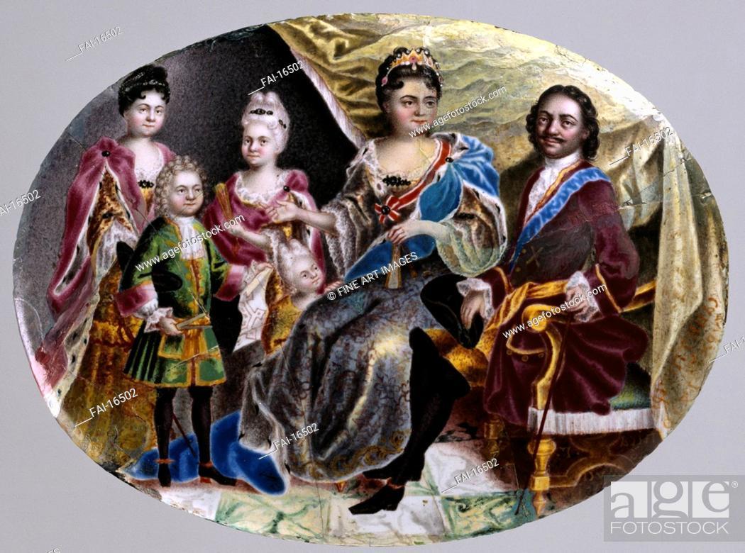 Stock Photo: Family of Emperor Peter I. Musikiysky, Grigori Semyonovich (1670-after 1739). Enamel on copper, porcelain. Russian Art of 18th cen. . 1717-1718.