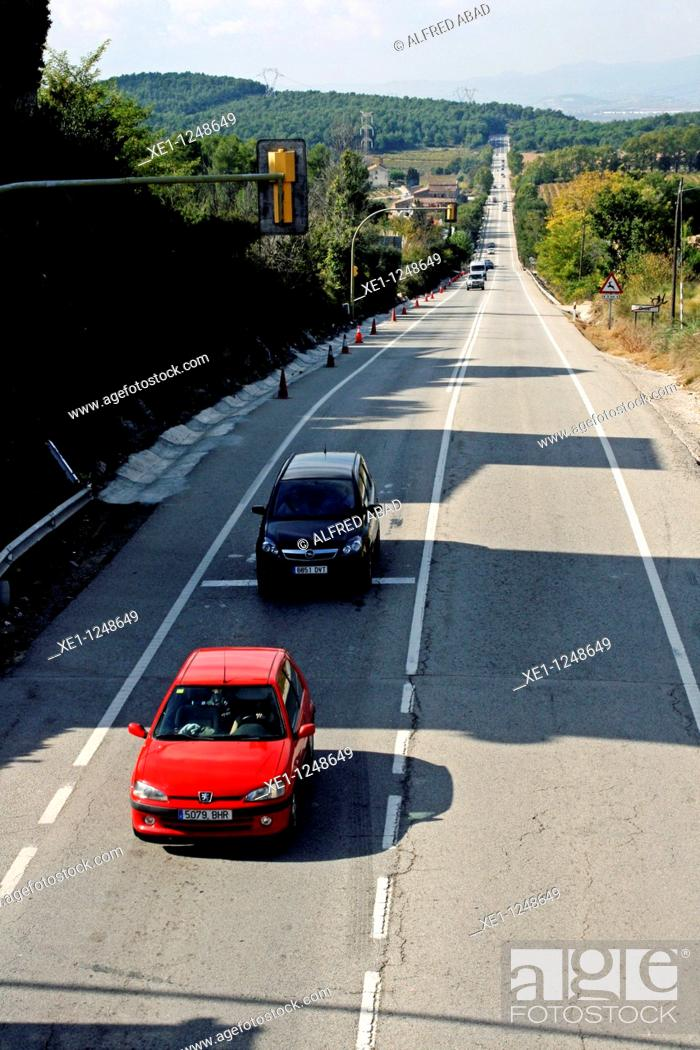 Stock Photo: Road traffic, Ordal, Subirats, Catalonia, Spain.