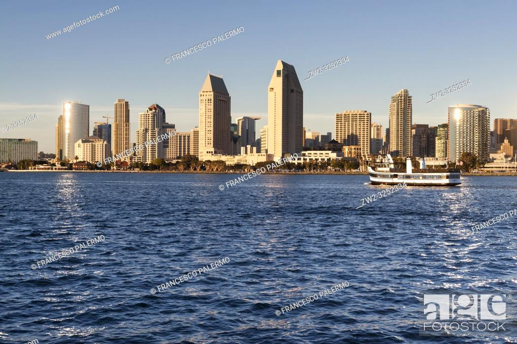 Stock Photo: Panoramic view of downtown San Diego from Coronado Island. San Diego, California, USA.