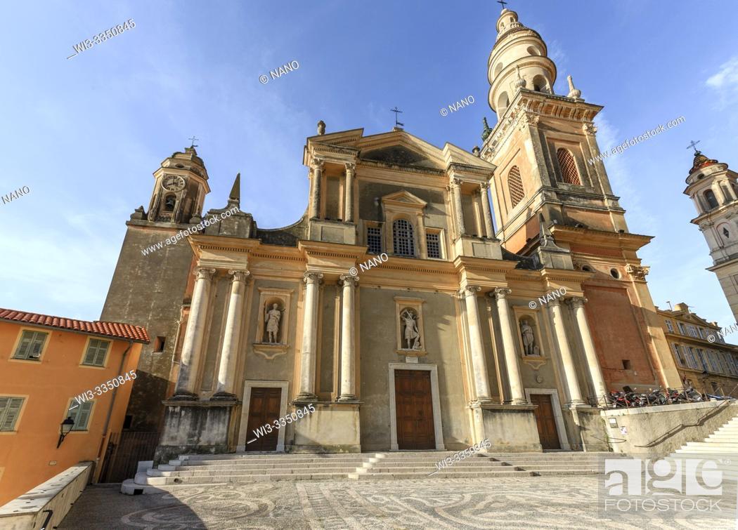 Stock Photo: France, Alpes Maritimes, Menton, Saint Michel Square and Saint Michel Archange basilica.