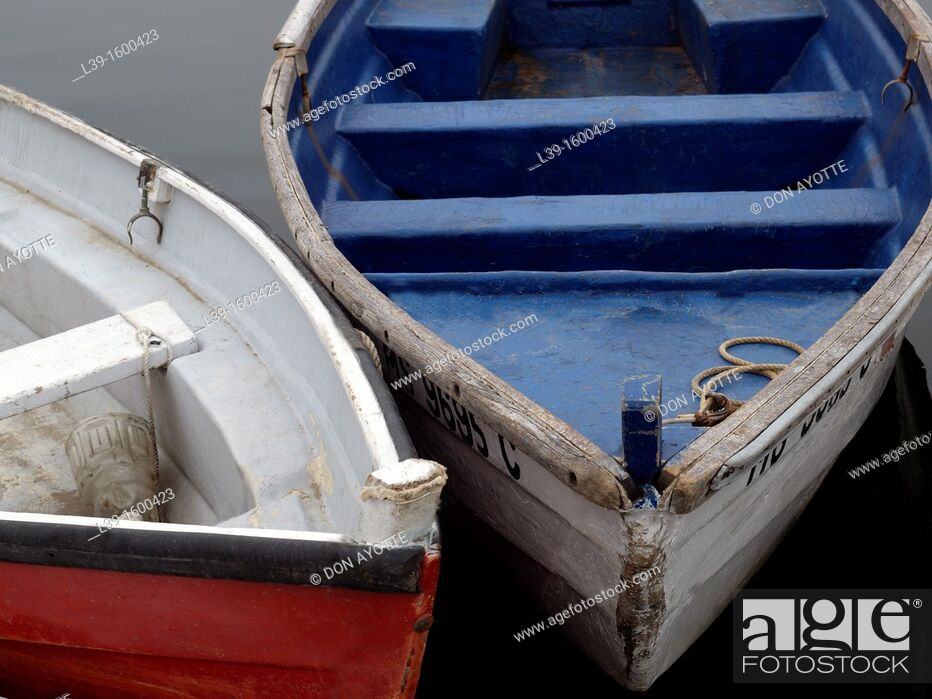 Stock Photo: Skiffs to take fisherman to their ships in Marshfield, MA, USA.