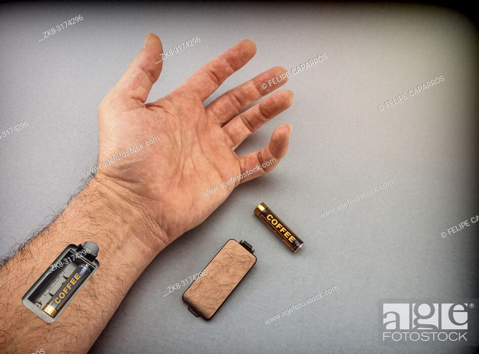 Stock Photo: Hand of man with slot for charging batteries, energy concept.
