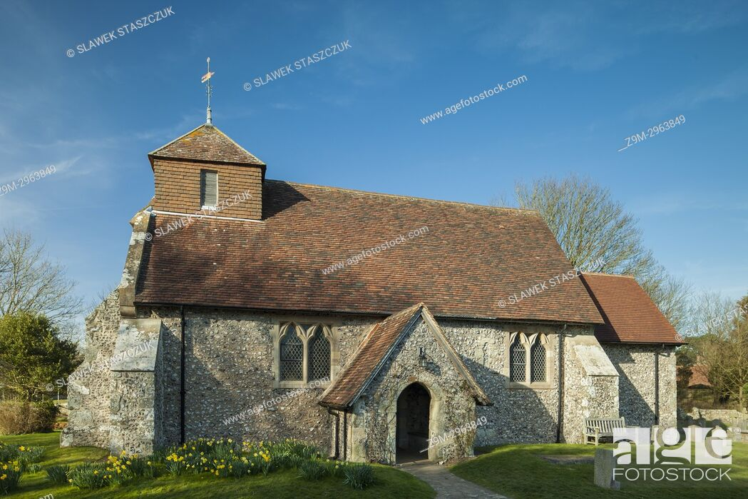 Stock Photo: Early spring at the church in Friston village, East Sussex, England.