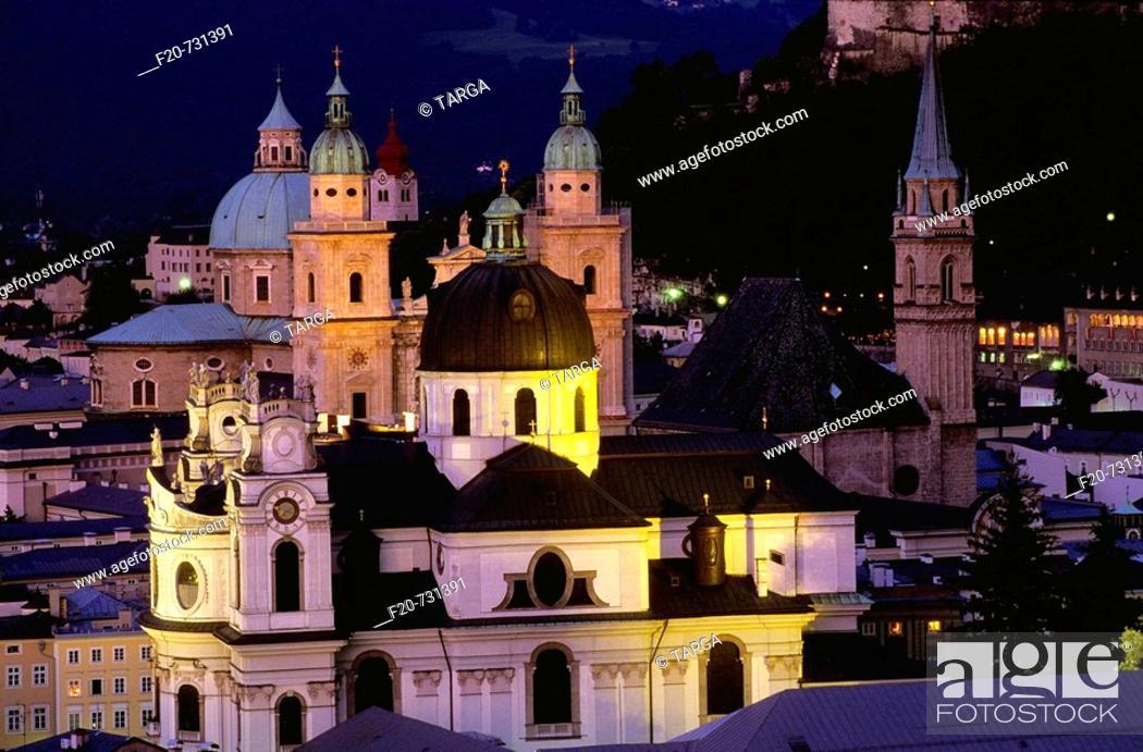 Stock Photo: Cathedral and Kollegienkirche domes, Salzburg, Austria.