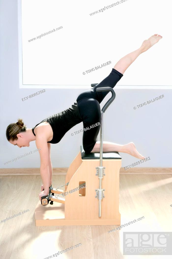 Stock Photo: combo wunda pilates chair woman fitness yoga gym exercise.