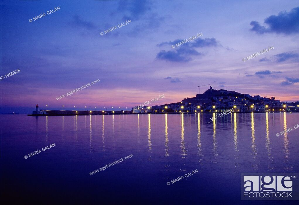 Stock Photo: Overview at dawn. Ibiza, Balearic Islands, Spain.