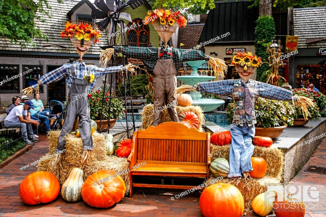 Stock Photo: October sees Halloween, Scarecrows, Pumpkins and the Fall in Gatlinburg Tennessee.