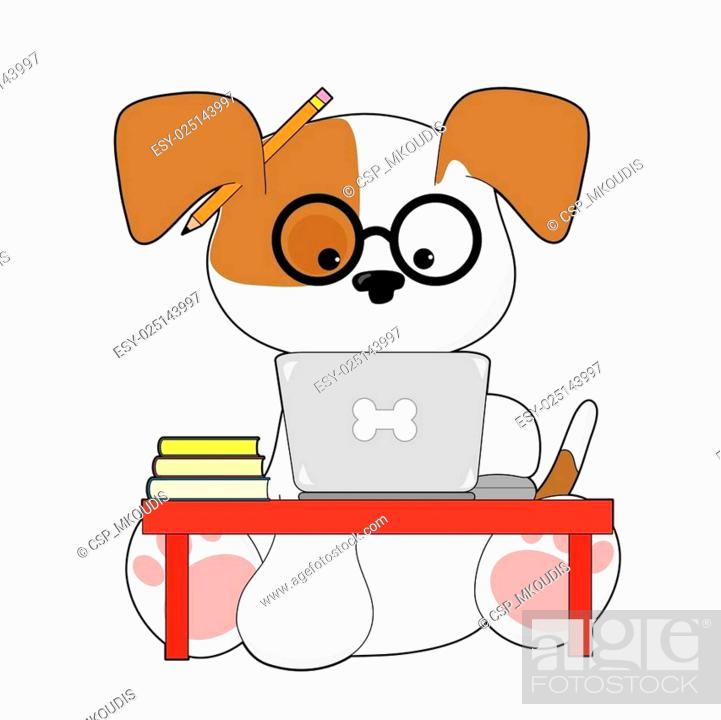 Stock Vector: Cute Puppy and Laptop.