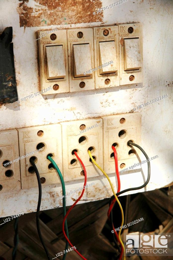 Ponda Goa, India, dangerous electrical panel, Stock Photo ... on