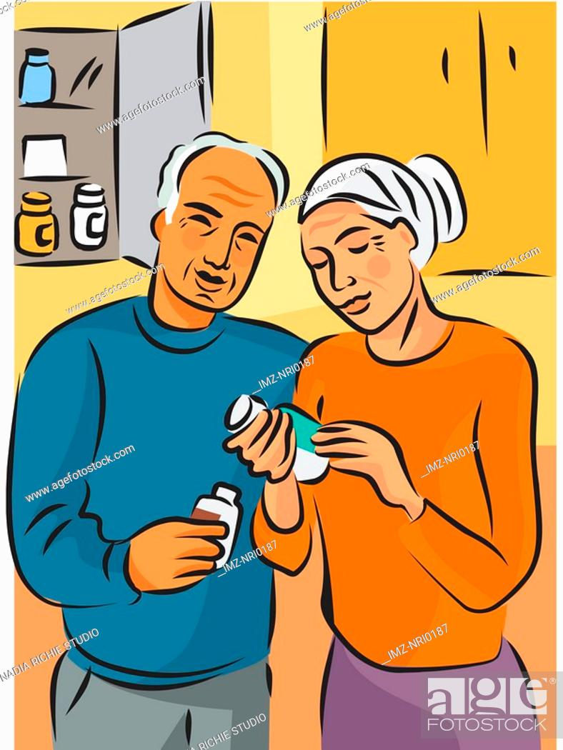 Stock Photo: An elderly couple reading the label on a bottle of pills.