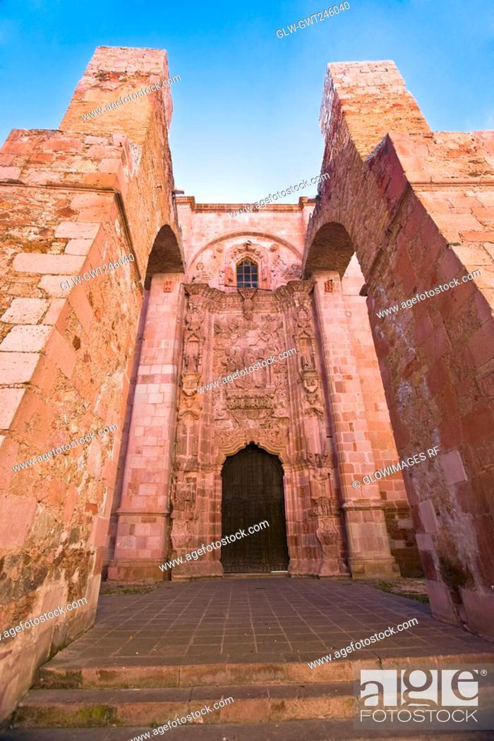 Stock Photo: Low angle view of a church, Ex Templo De San Agustin, Zacatecas, Mexico.