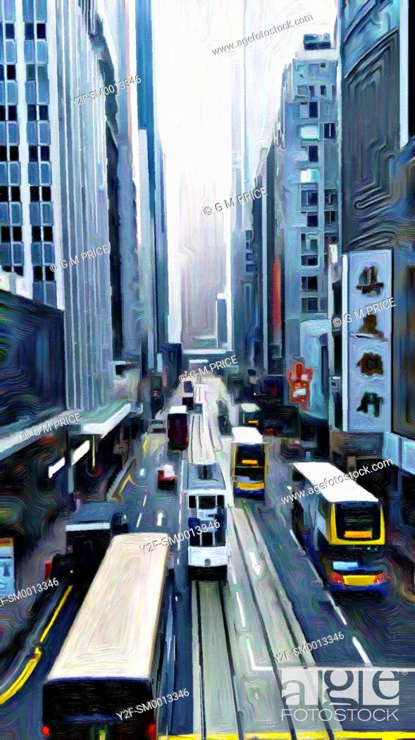 Stock Photo: expressionist filter view of buses and office buildings, Hong Kong, China.