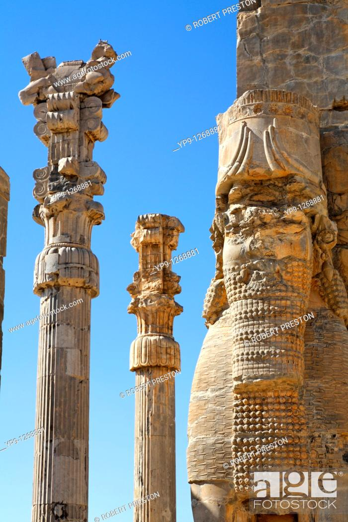 Stock Photo: The Gate of All Nations at Persepolis, Iran.