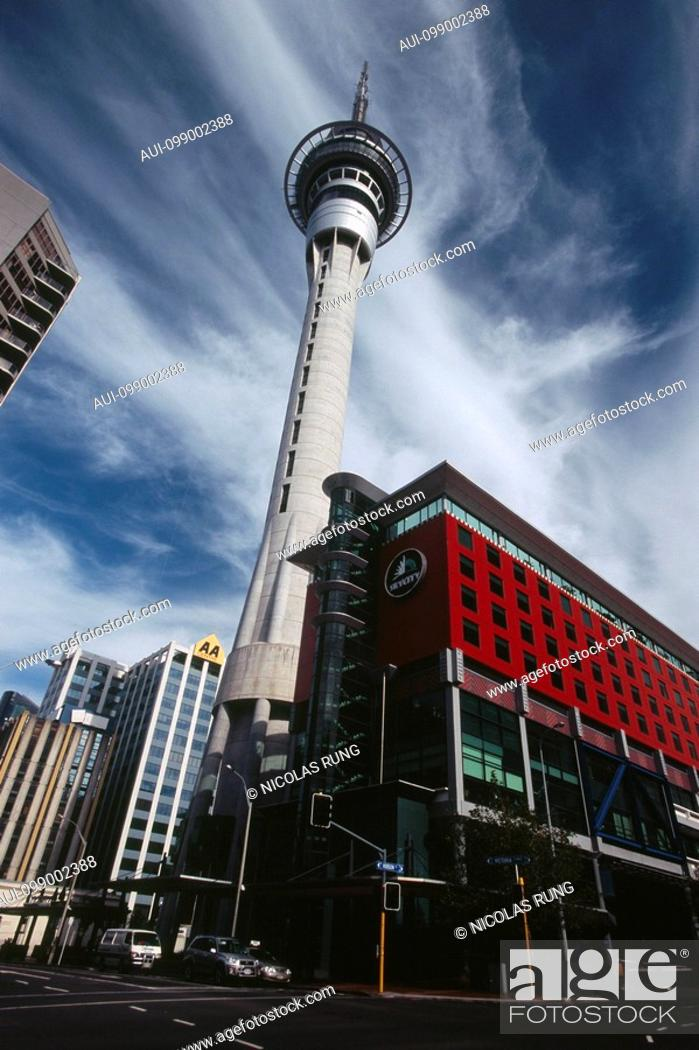 Stock Photo: New Zealand - North Island - Auckland - Sky Tower - 328 m - 1997.