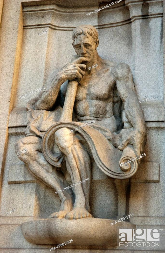 Stock Photo: Carved stone statue on County Building in Chicago.